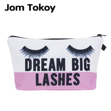 Load image into Gallery viewer, Jom Tokoy cosmetic organizer bag dream big lashes Printing Cosmetic Bag Fashion Women Brand makeup bag