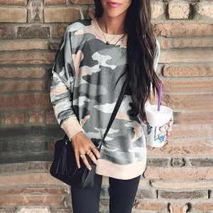 Women Camouflage Printed Sweatshirt Hoodies Tumblr Oversized Autumn Harajuku Coat Female Casual Basic Pullovers