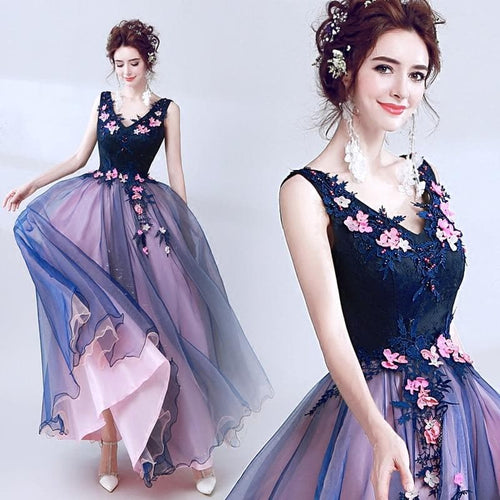 New dark blue long lace summer lady girl women princess bridesmaid banquet party ball dress gown