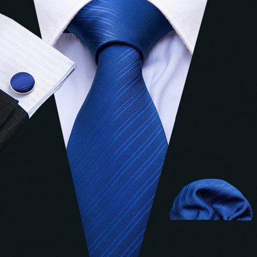 Barry.Wang New Arrival Men's Casual Fashion Ties Classic Royal Blue Solid Neckties Man Tie For Wedding Party Business Male Tie
