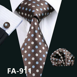 Fashion Navy Polka Dot 100% Silk Tie Barry.Wang Gift Woven Neck Tie For Men Party Business Wedding Free Shipping FA-5095