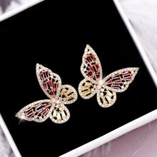 Load image into Gallery viewer, Zircon Butterfly Stud Earrings for Women Girls Silver Gold Pink Blue Color Fashion Wedding Earring pendientes mujer moda