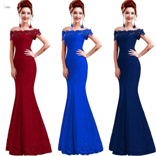 Long Bridesmaid Dresses Elegant Off The Shoulder Sleeveless Lace Mermaid Wedding Party Gown robe