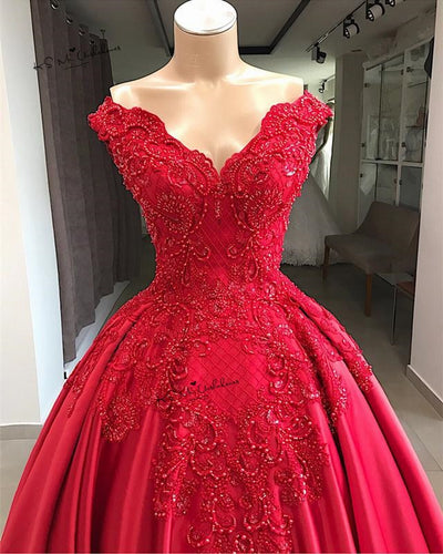 Premium Collections - Designer Vintage Red Wedding Dress Lace Beaded Church Bride Dresses Custom Made off Shoulder Wedding Gowns