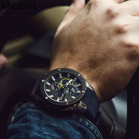 MEGIR Men Sport Watch Chronograph Silicone Strap Quartz Army Military Watches