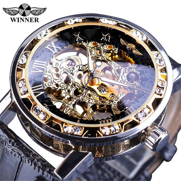 Diamond Automatic Skeleton Watch