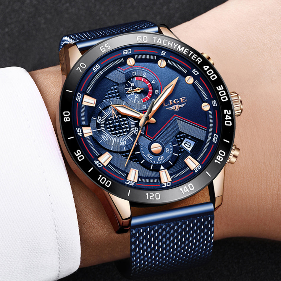 2019 New Blue Casual Mesh Belt Fashion Quartz Gold Watch