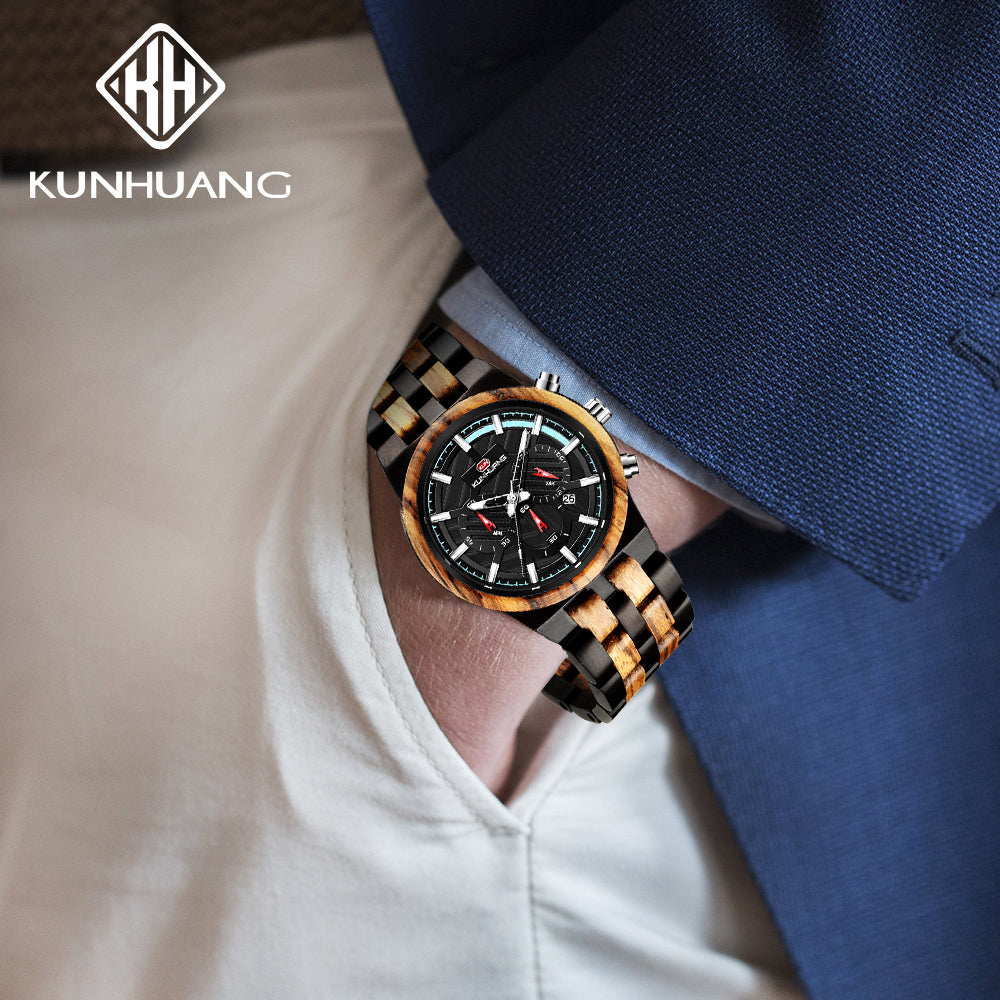 KUNHUANG Wooden Watch Men