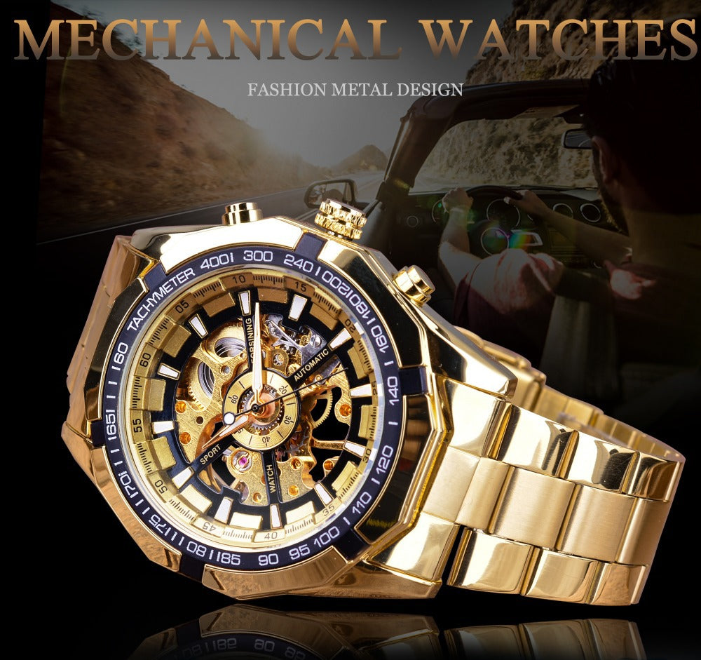 Noble Golden Skeleton Dial Watch