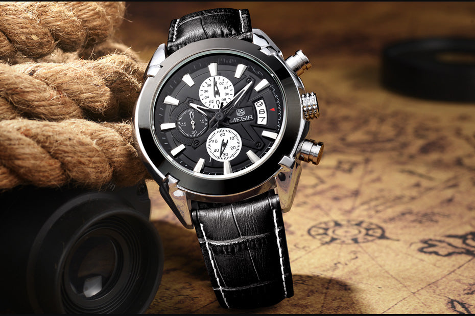 DEVIN Quartz Sport Chronograph Leather Watches