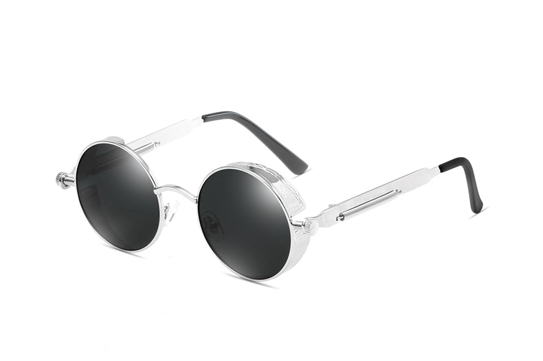 Silver Black JACOB Vintage Steampunk Sunglasses