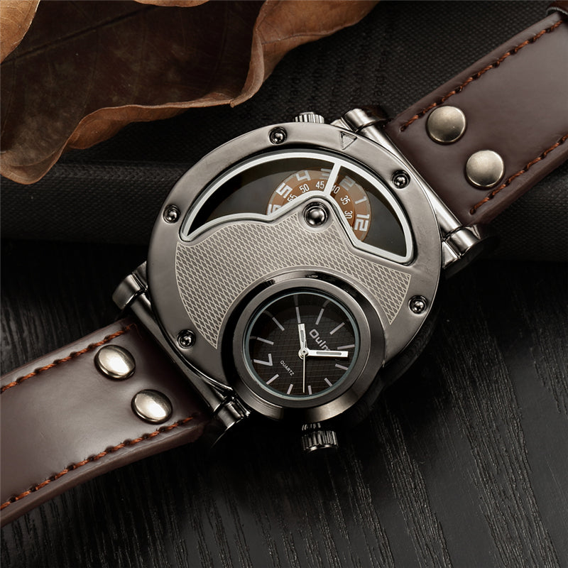 Two Time Zone SportsMilitary Leather Strap Watch