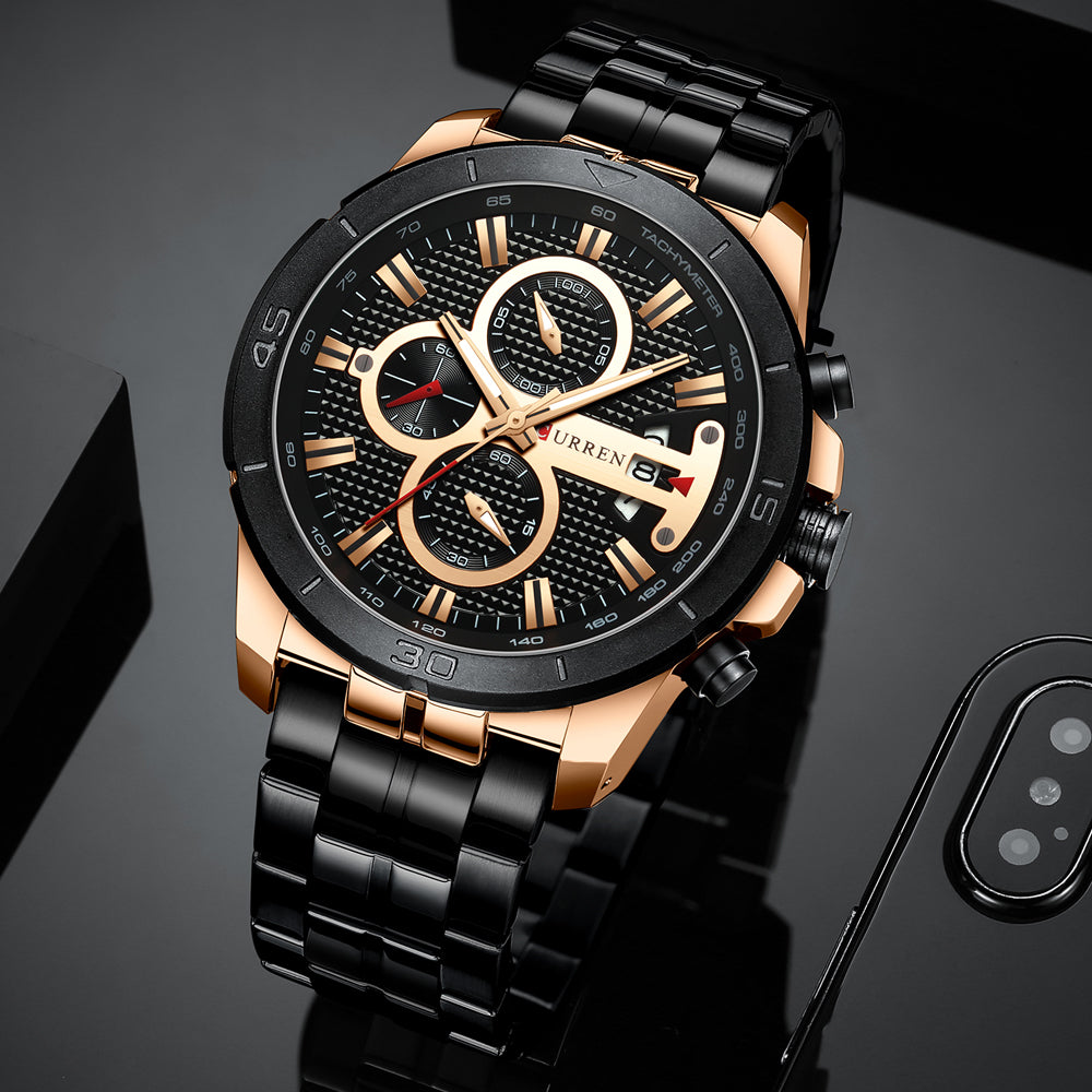 Luxury Brand Stainless Steel Wrist Watch Chronograph Army Military
