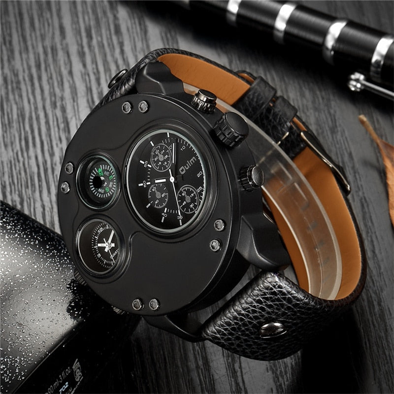 Oulm Unique Two Time Zone Watches Men Compass