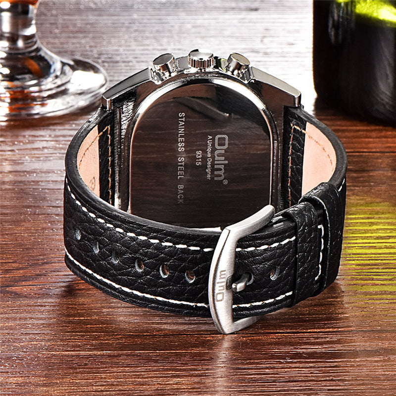 ports Leather Strap Military Wristwatch