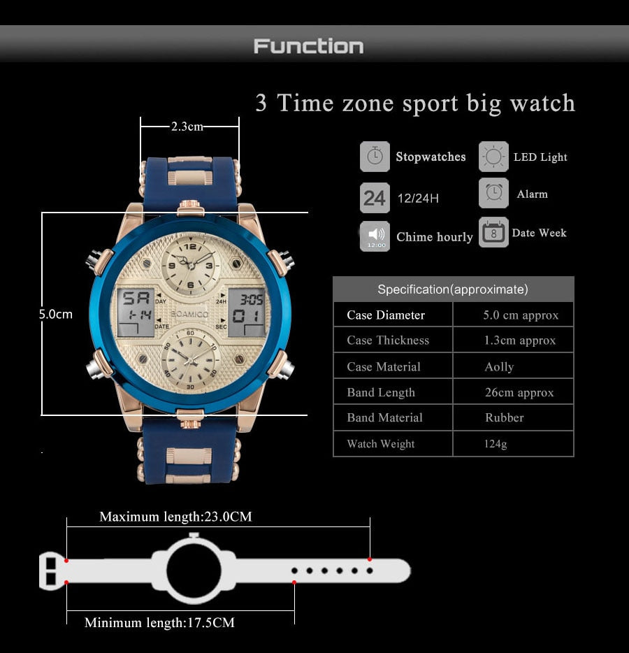 Quartz LED Digital 3 Clock Military Wrist Watch
