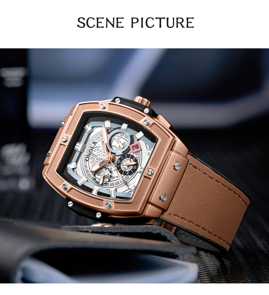 Square Big Dial Wrist Mechanical Watch