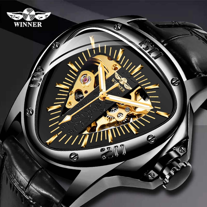 Leather Strap Automatic Mechanical Men