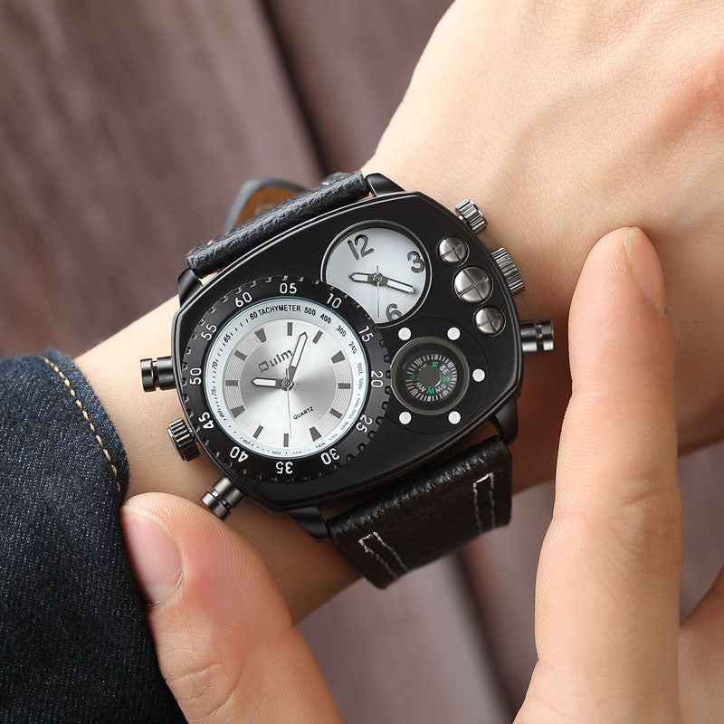 Oulm Fashion Men's Quartz Watch Compass
