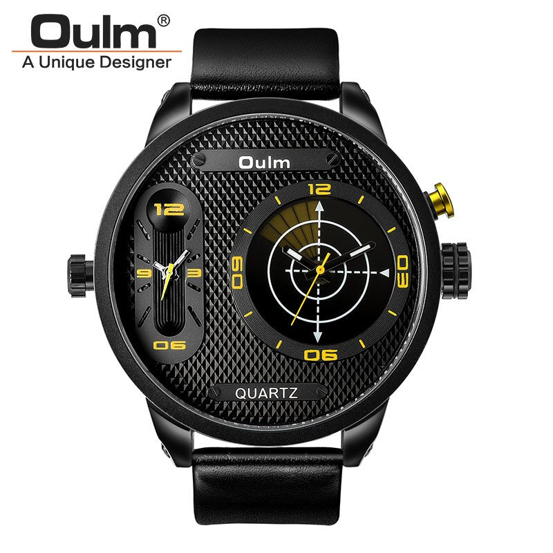 Oulm Fashion Men's Watches LED Two Time Zone