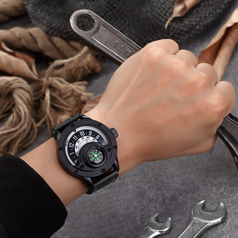 Oulm New Mens Leather Watches Compass