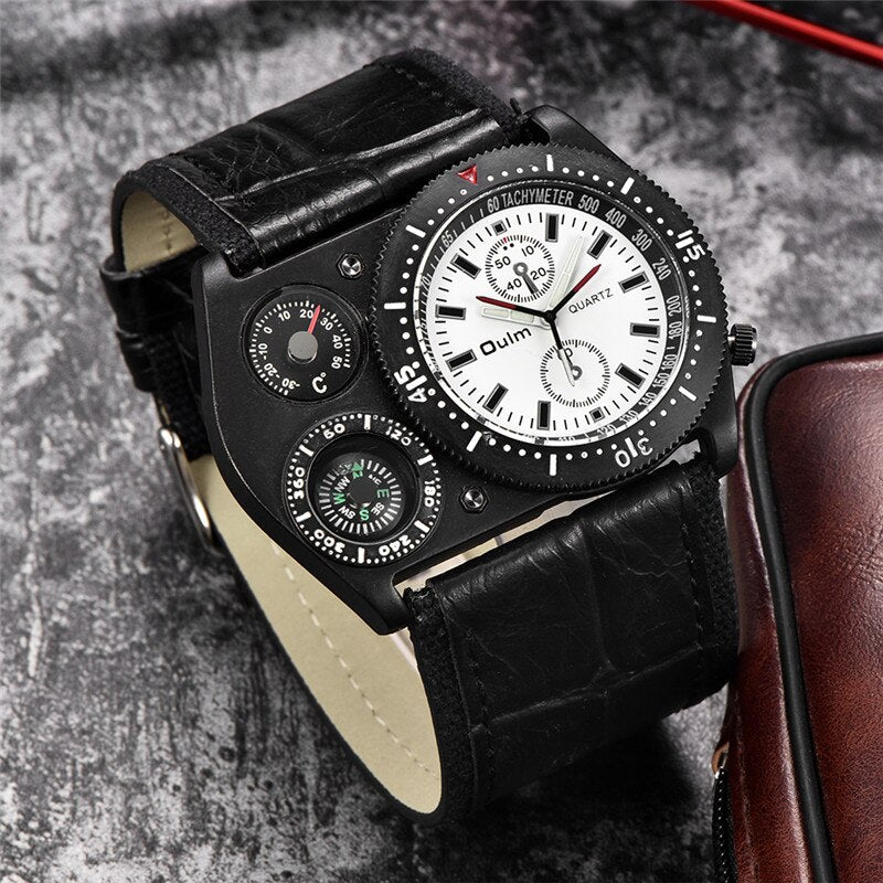 Oulm Wrist Watch Men Casual Quartz Wide Leather Compass Thermometer