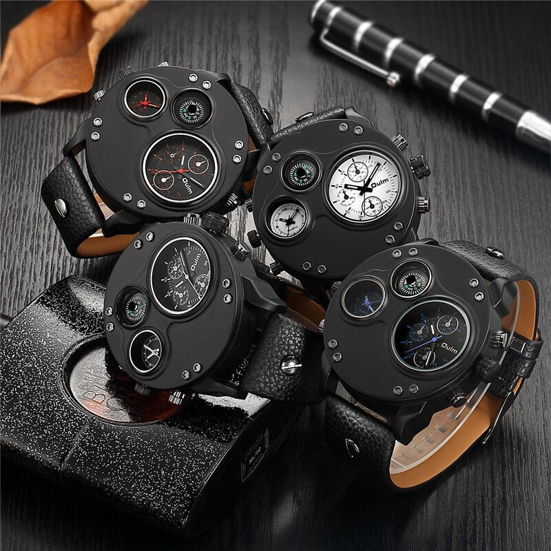 Oulm Unique Men's Watches Two Time Zone