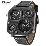 Oulm Fashion Men's Quartz Watches Dual Time Big Dial Time Zone