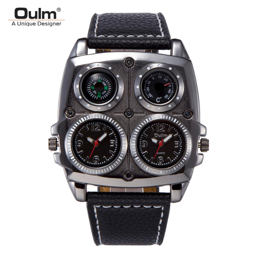 Oulm Mens Watches Leather Band 2 Time Zone Creative