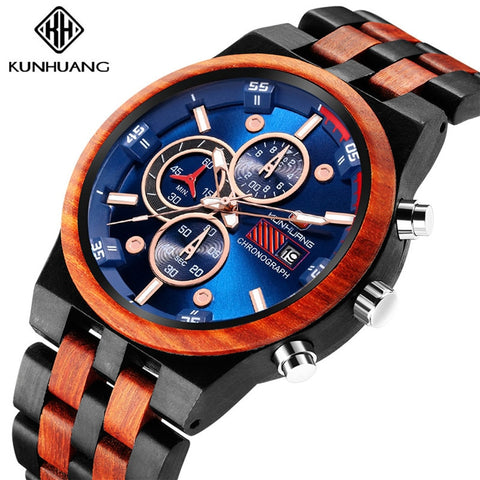 KUNHUANG Wooden Men Watches Stylish Gift for Man