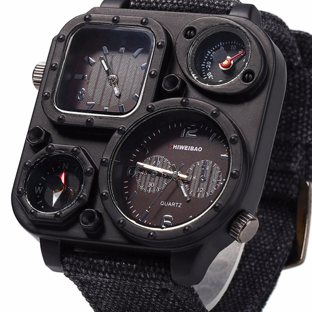 Big Dial Dual-Movement Sport Quartz Watch
