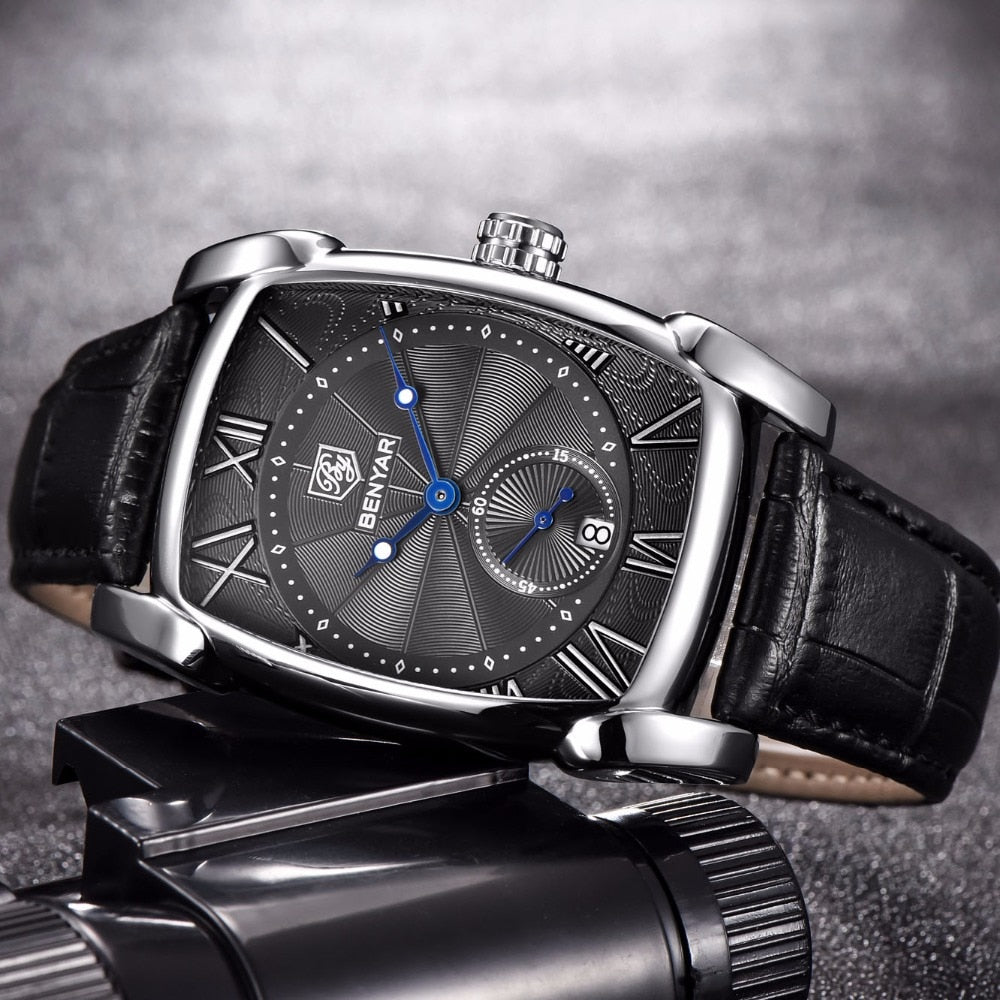 SquareBusiness Waterproof Quartz Leather Wrist Watch