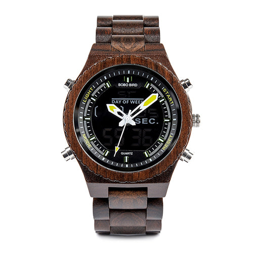 Wood Wristwatch LED Dual Display Auto Date Watch