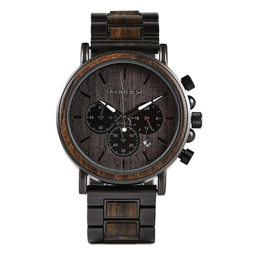 Wood and Stainless Steel Chronograph Wristwatch