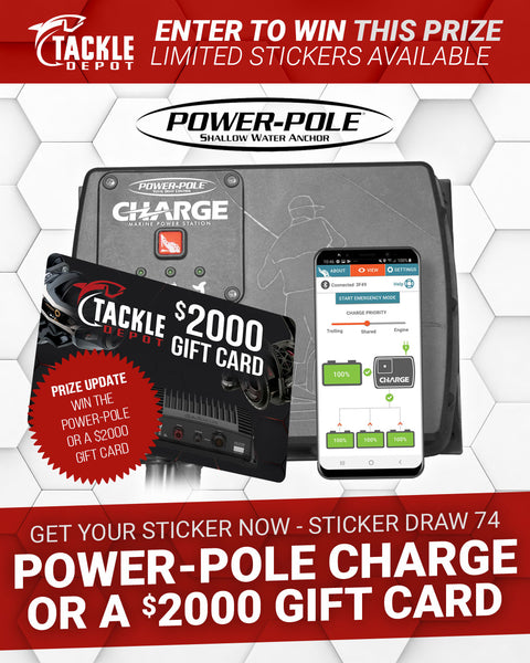 Stickers 101 to 105 - Tackle Depot Power-Pole CHARGE Sticker Draw 74