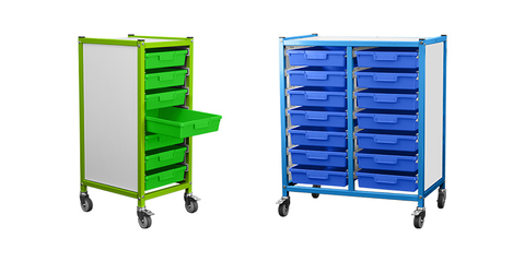 Handling Equipment For Schools Collection Image - Displaying Bookshelf Trolley, Rough Terrain Sack Barrow, and Bad Boy All Purpose Trolley