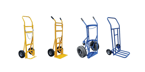 Sack Trucks, Sack Barrows and Hand Carts - Collection Image - Displaying Heavy Duty Sack Truck, Sack Truck with Folding Footplate, Heavy-Duty Gas Bottle Sack Truck, and Lightweight Folding Sack Truck