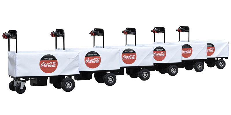 powered trolleys with custom branded coca cola covers