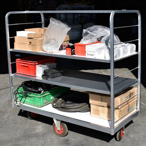 Adjustable height picking trolley