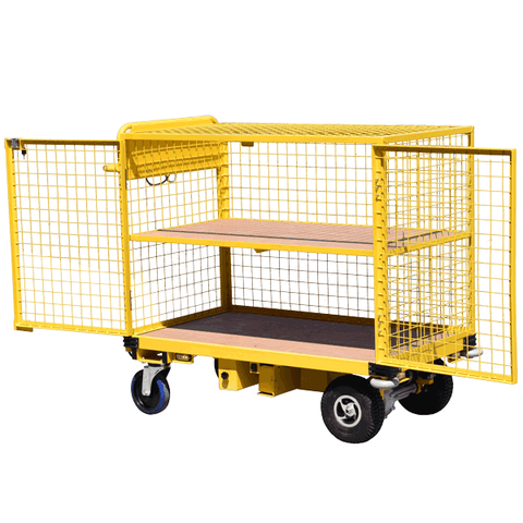Security Cage Trolley with Integral Shelf