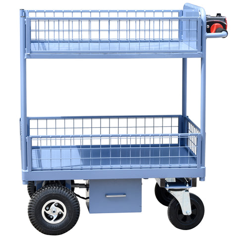 Blue Powered Shelf Trolley with Sides