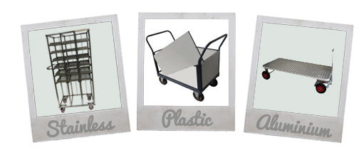 Made to order trolleys, racks, platform trucks and trailers using plastic, stainless steel and aluminium