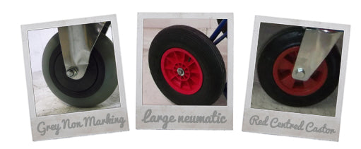 Made to order trolley wheels, puncture proof, air filled, or castors