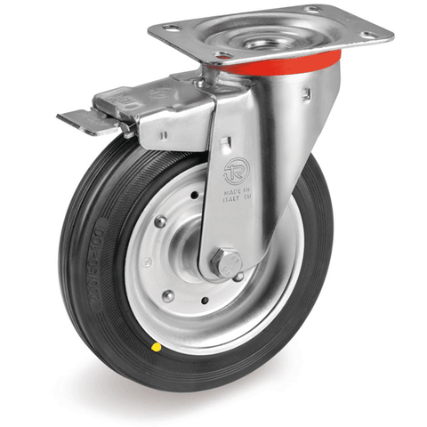 Steel Centre Castor with Black Rubber Tyre Brake