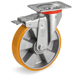 Aluminium Centre Castor with Polyurethane Tyre Brake