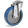 Castor with Elastic Rubber Tyre Bolt Hole Swivel