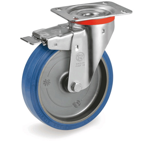 Castor with Elastic Rubber Tyre Brake