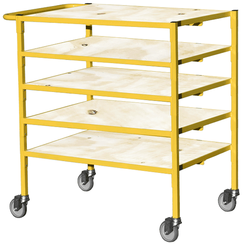 small storage trolley with wooden shelves