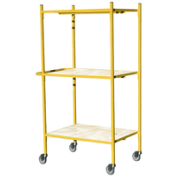 distribution trolley with 3 wooden shelves