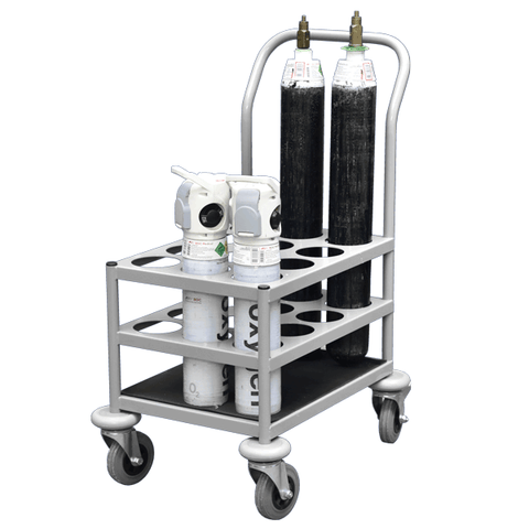 Hospital Oxygen Cylinder Trolley loaded with standard 110mm oxygen canisters
